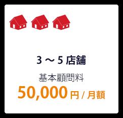3~5店舗 基本顧問料 50,000円/月額
