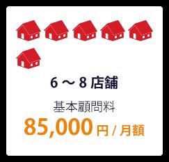 5~7店舗 基本顧問料 85,000円/月額